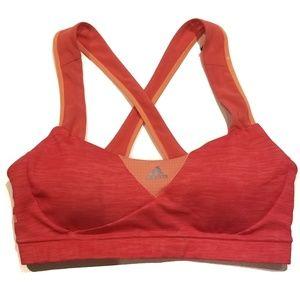 Adidas Orange Medium Criss Cross Sports Bra